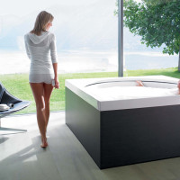 Blue Moon Pool in the freestanding variant with panelling in Oak Anthracite