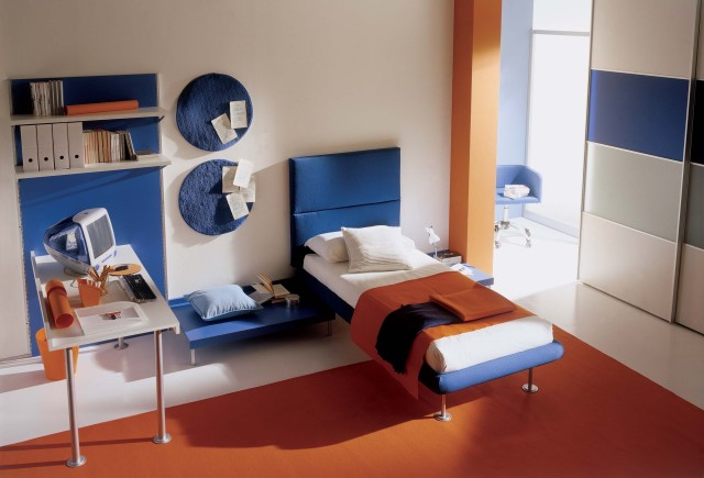 Blue - Orange Childrens Bedroom Interior