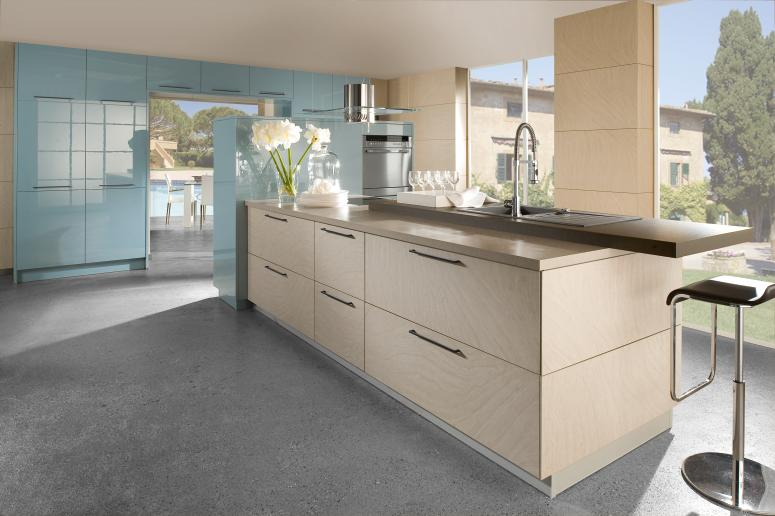 Blue and beige kitchen for Modern german kitchen designs