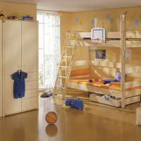 Bunk bed Fleximo with diagonal ladder, climbing robe, basketball set and bed frame