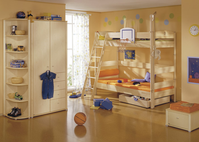 Bunk bed Fleximo with diagonal ladder, climbing robe, basketball