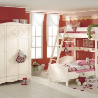 Corner-bunk bed Claire - loft bed combination with diagonal ladder and divan bed