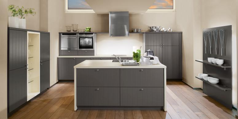 Cream and grey combination kitchen for Cream and grey kitchen