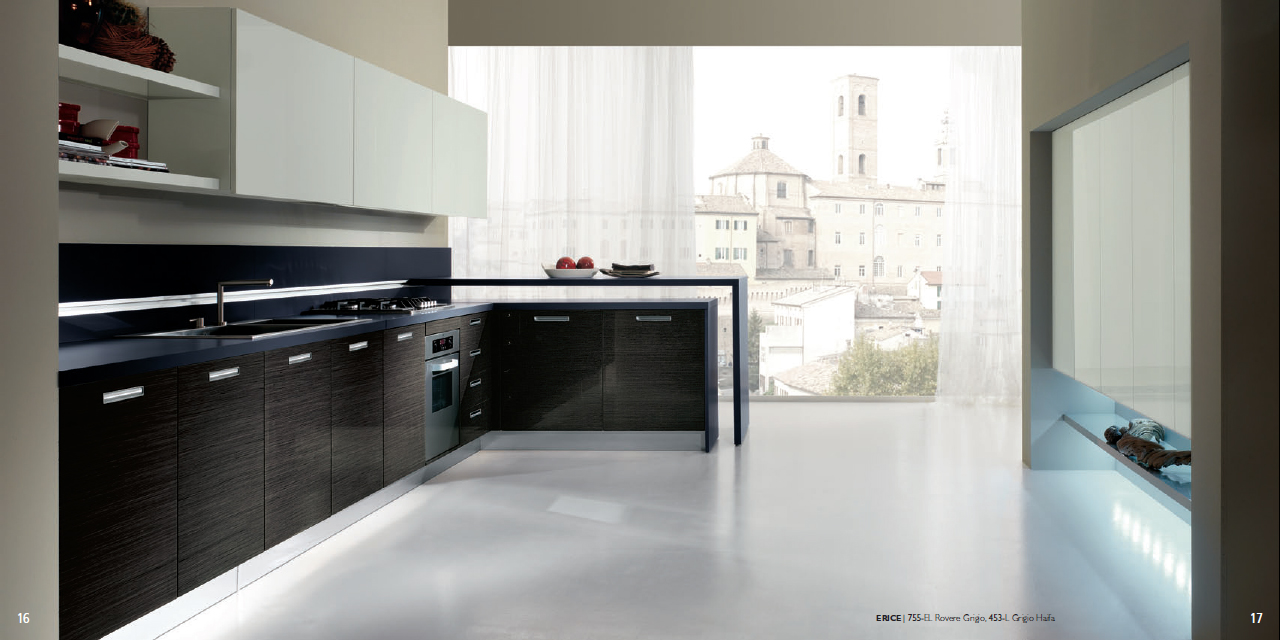 erice kitchen design with veneered base units in a glossy