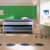 Green Bedroom with Bed Having Rollers