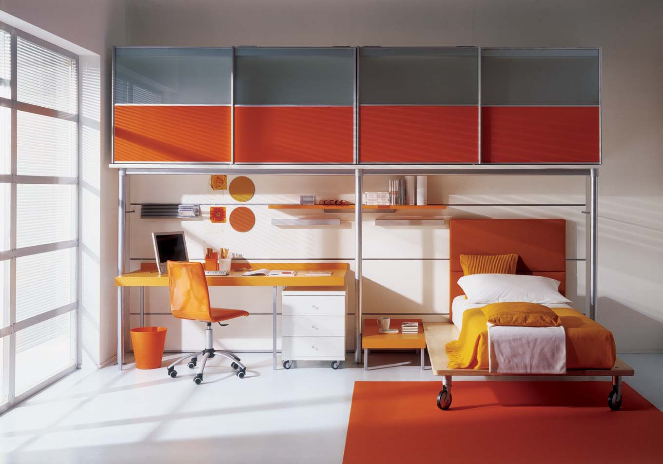Grey and orange kids bedroom interior for Interior design for kid bedroom