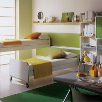 Kids Bedroom with Bed on Wheels