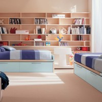 Kids Bedroom with Book Shelves