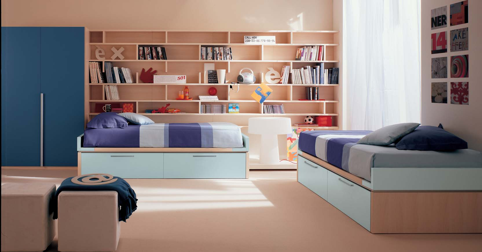 Kids bedroom with book shelves Bookshelves in bedroom ideas