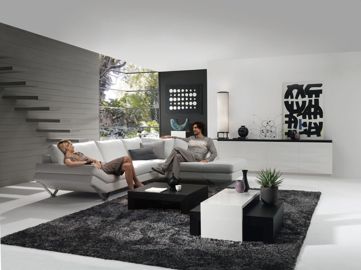 Living room in grey with releve modular sofa for Living room design ideas grey sofa