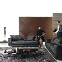 Living Room with Black Soprano Sofa