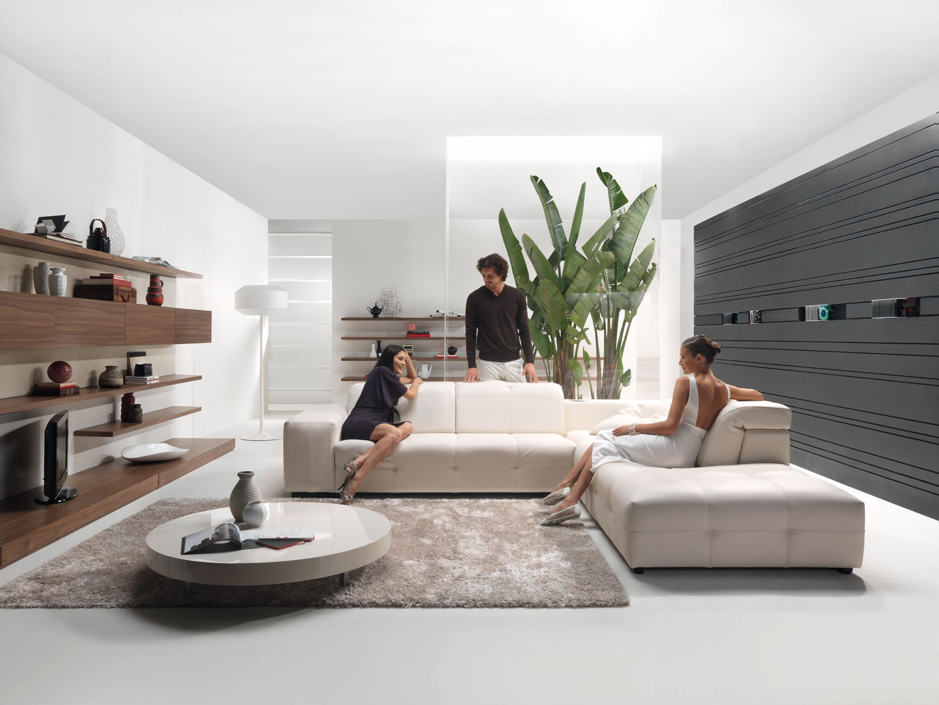 living room with cream modular sofa