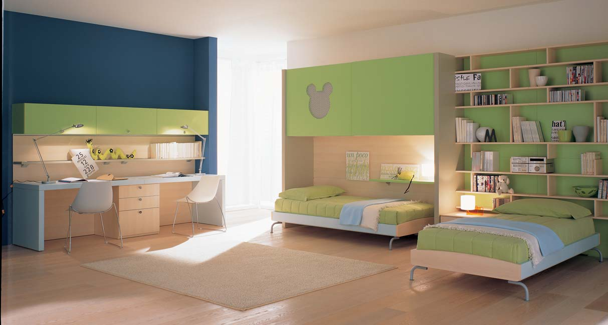 Nice blue green kids bedroom for Bedroom interior designs green
