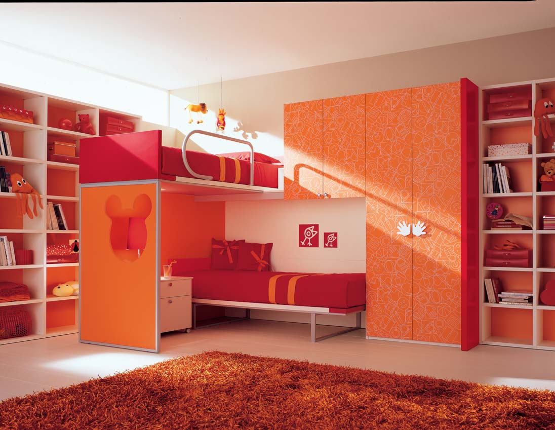 Orange kids bedroom with bunk beds for Bedroom ideas with bunk beds