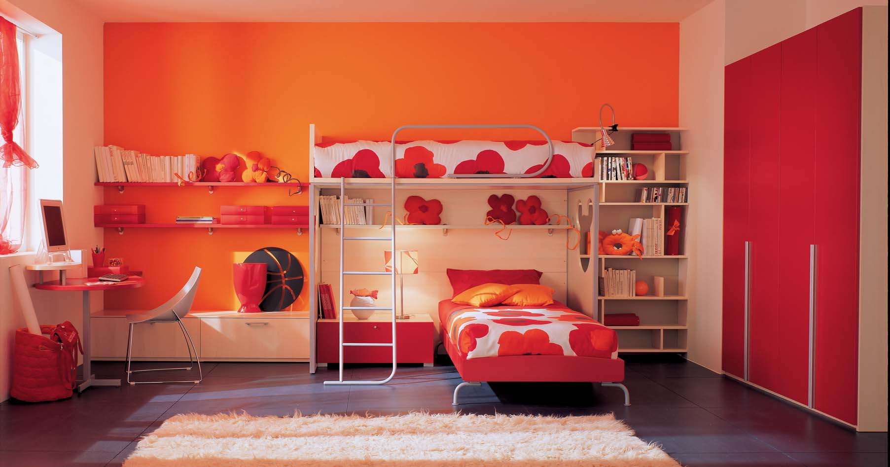 Orange n red kids bedroom with bunk beds for Bunk bed bedroom designs