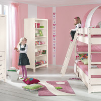 Pinetta bunk bed with sloping ladder, half tent in rose-white with trundle bed