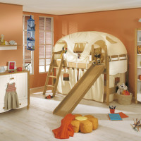 Play bed Claire white-honey with chute, ladder and curtain set