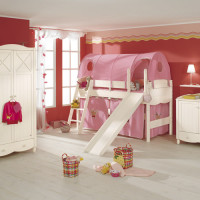 Play bed Claire white with chute, ladder, curtain set and play tent