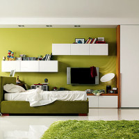 Teen Bedroom Green White