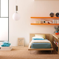 Teen Bedroom with Turquoise Orange Color