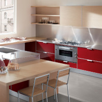 Tropea Kitchen Design with Rosso Cordoba finish for doors