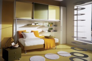 Yellow Compact Kids Bedroom Interior