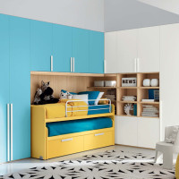 Blue Bedroom for Girls with Some Yellow