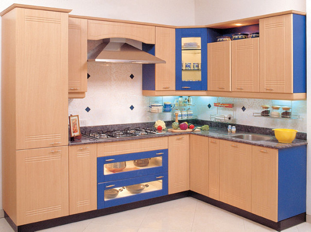 Blue and Beige Kitchen Design