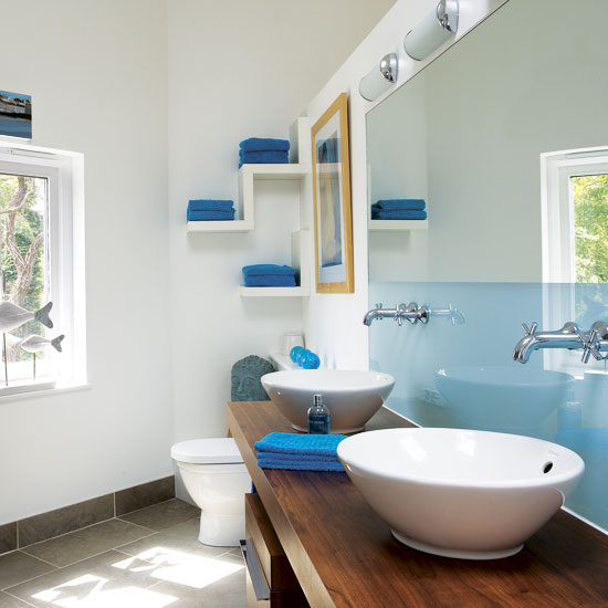 Blue bathroom with Twin Sinks