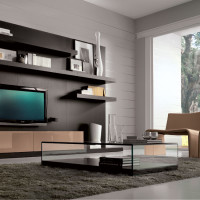 Brown Living Room with Glass Center Table