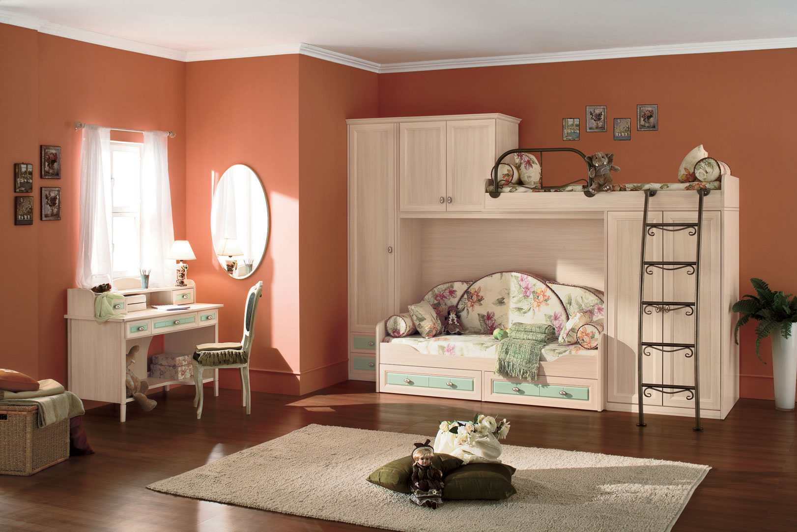Classic kids bedroom with bunk beds - Kids bedroom ...