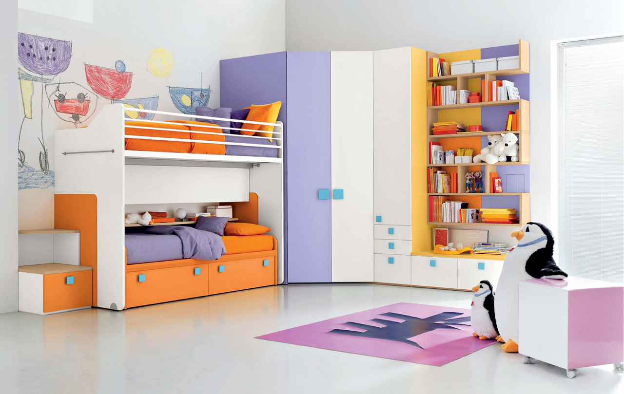 Creative colorful kids bedroom for Children bedroom furniture