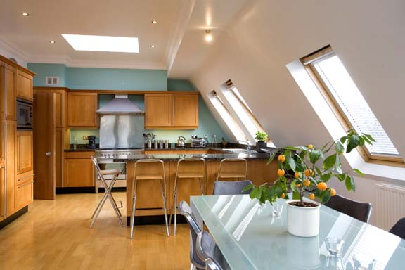 Elegant Kitchen with Skylights