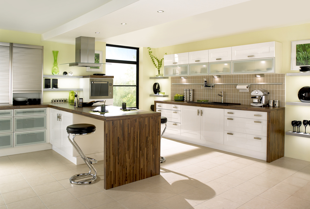 Gloss shaker white kitchen design - Modern white kitchen design ideas ...