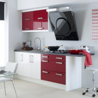 Logica Gloss White and Burgundy Kitchen Design