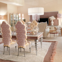 Luxurious Baby Pink and White Dining Area