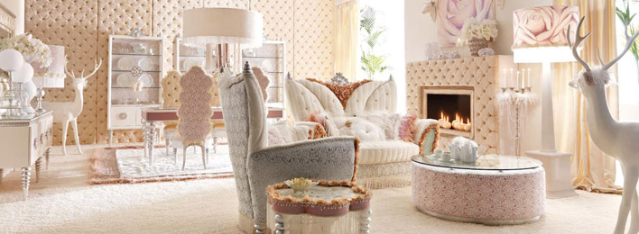 Luxurious Baby Pink and White Living Room Interior - FP