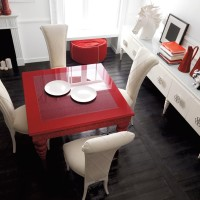 Luxurious Cream and Red Dining Area Ariel View