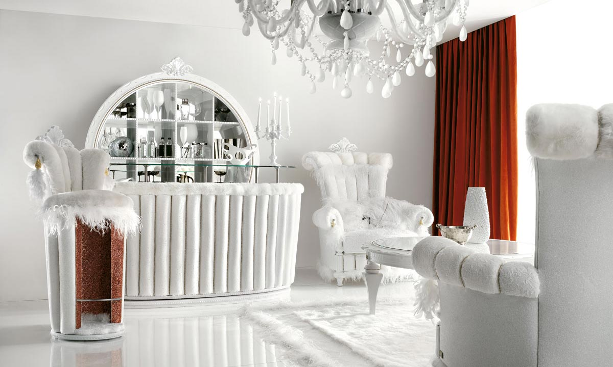 By ALTAMODA Luxurious White Living Room Interior With Red Curtains