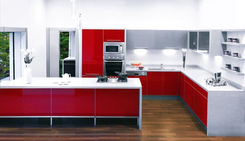 lovely Sleek Kitchen Designs #5: Sleek Senso Red Kitchen Design