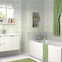 Bathroom Design ideas with Green Curtain