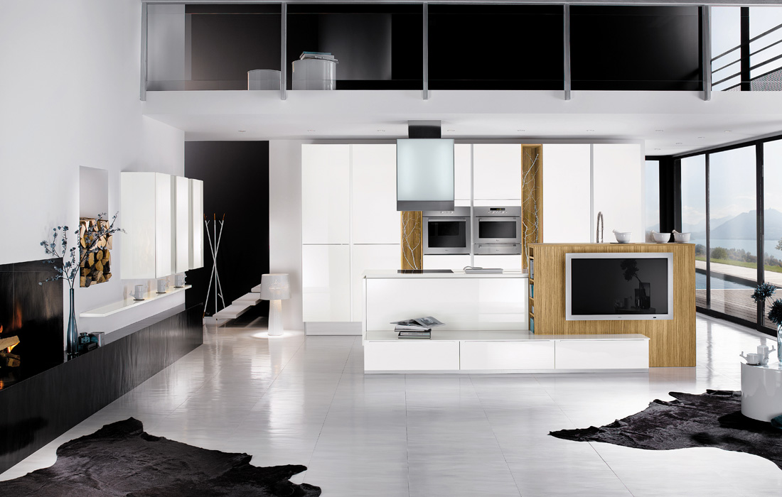 Black and white kitchen design for Kitchen designs black and white