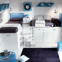Blue and White Teen Bedroom