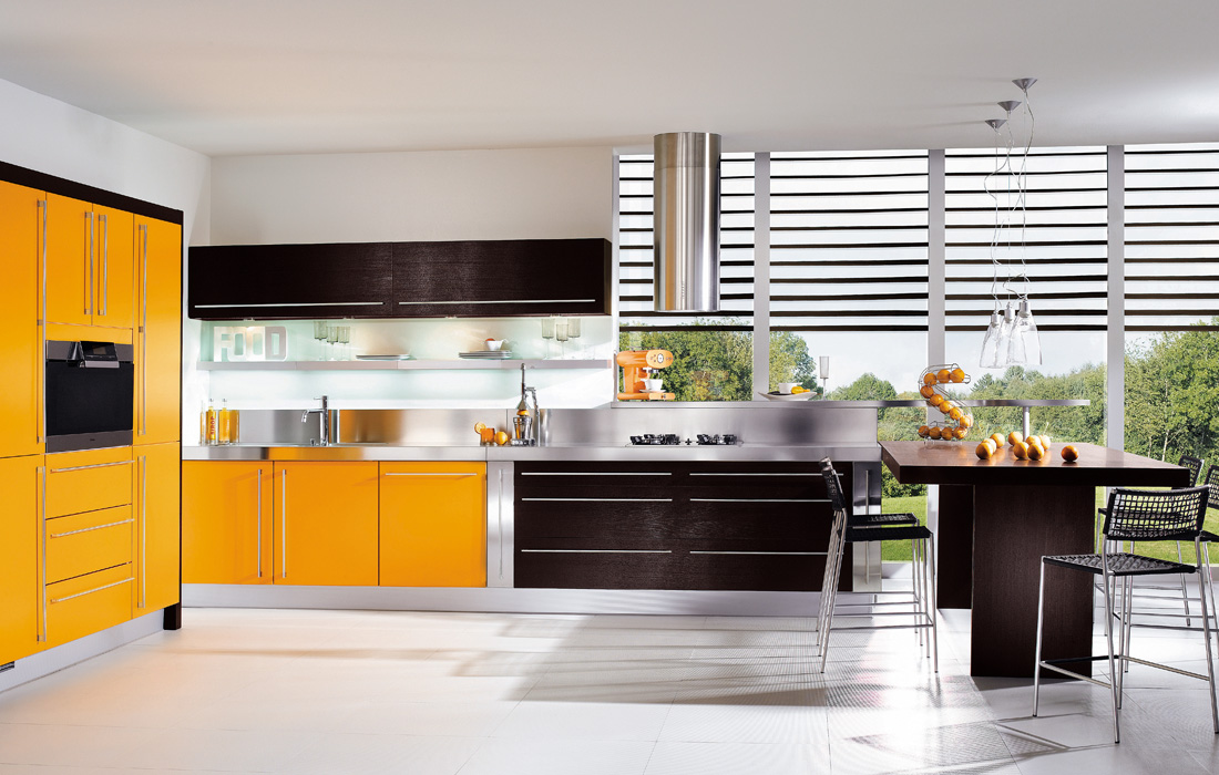 Brown yellow kitchen design for Brown kitchen designs