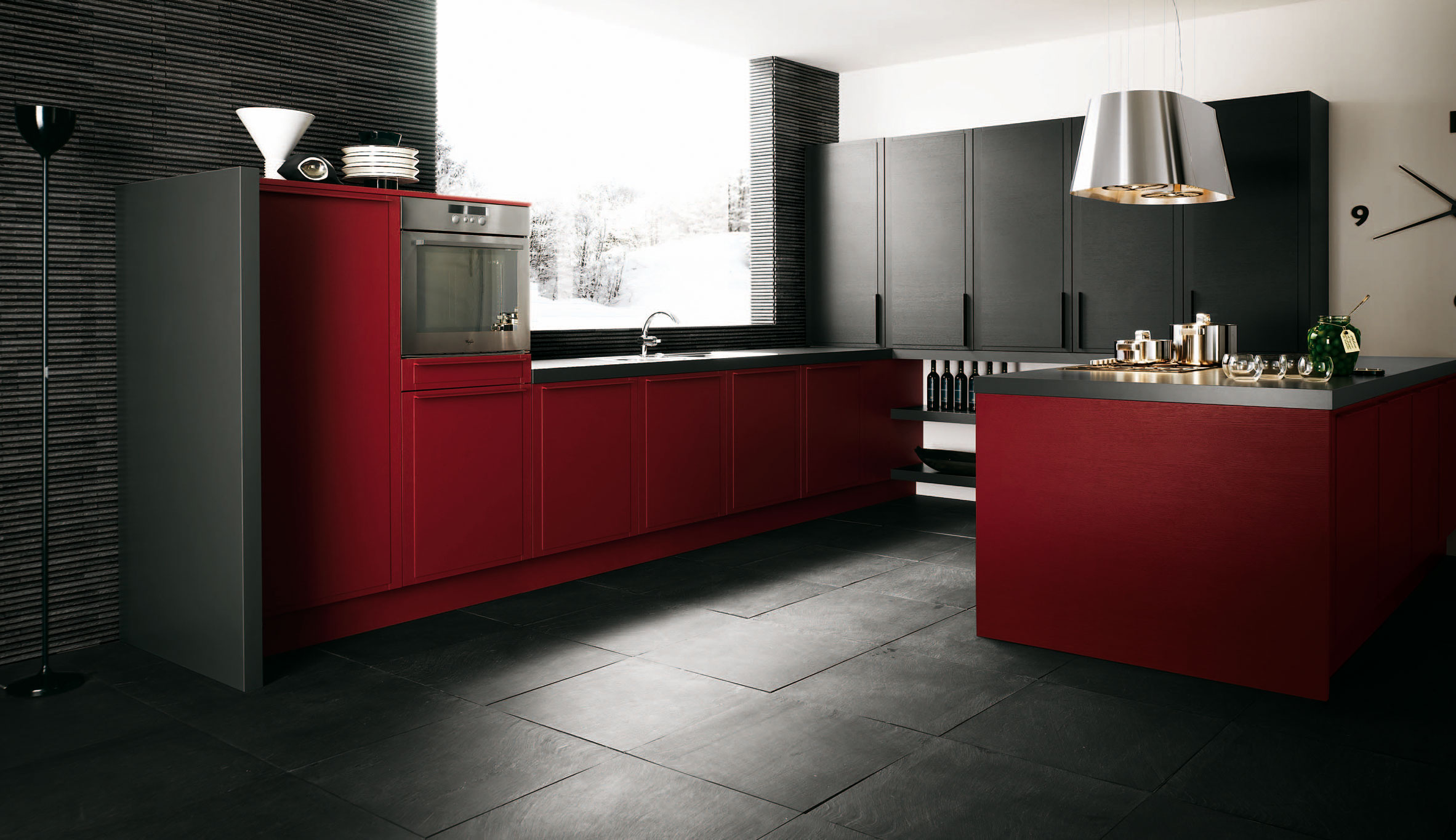 Dark red kitchen decor for Kitchen designs red and black
