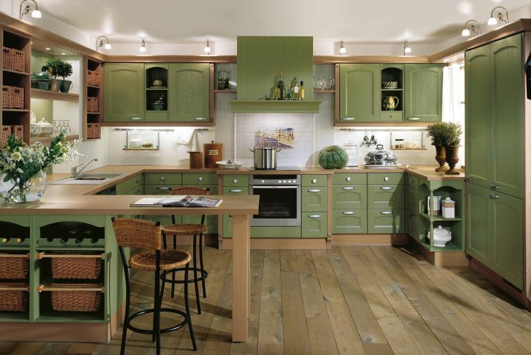 Green kitchen interior design for Green country kitchen ideas