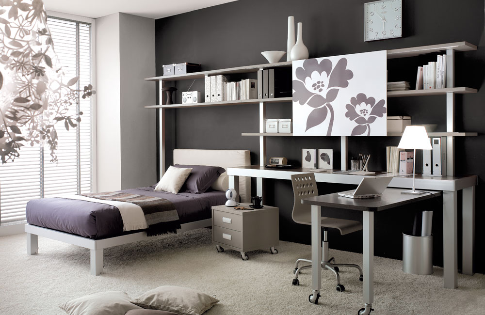 Grey Teen Bedroom with Study Table - StyleHomes.net