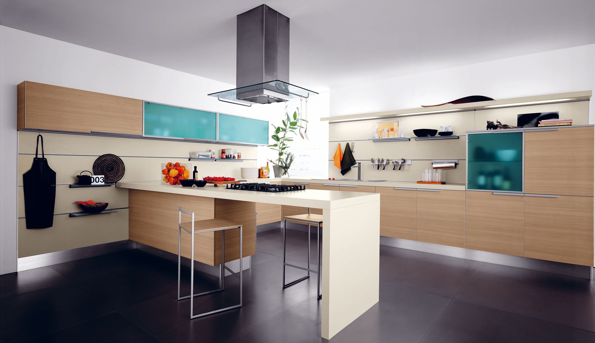 Modern colorful kitchen decor for Modern kitchen decor