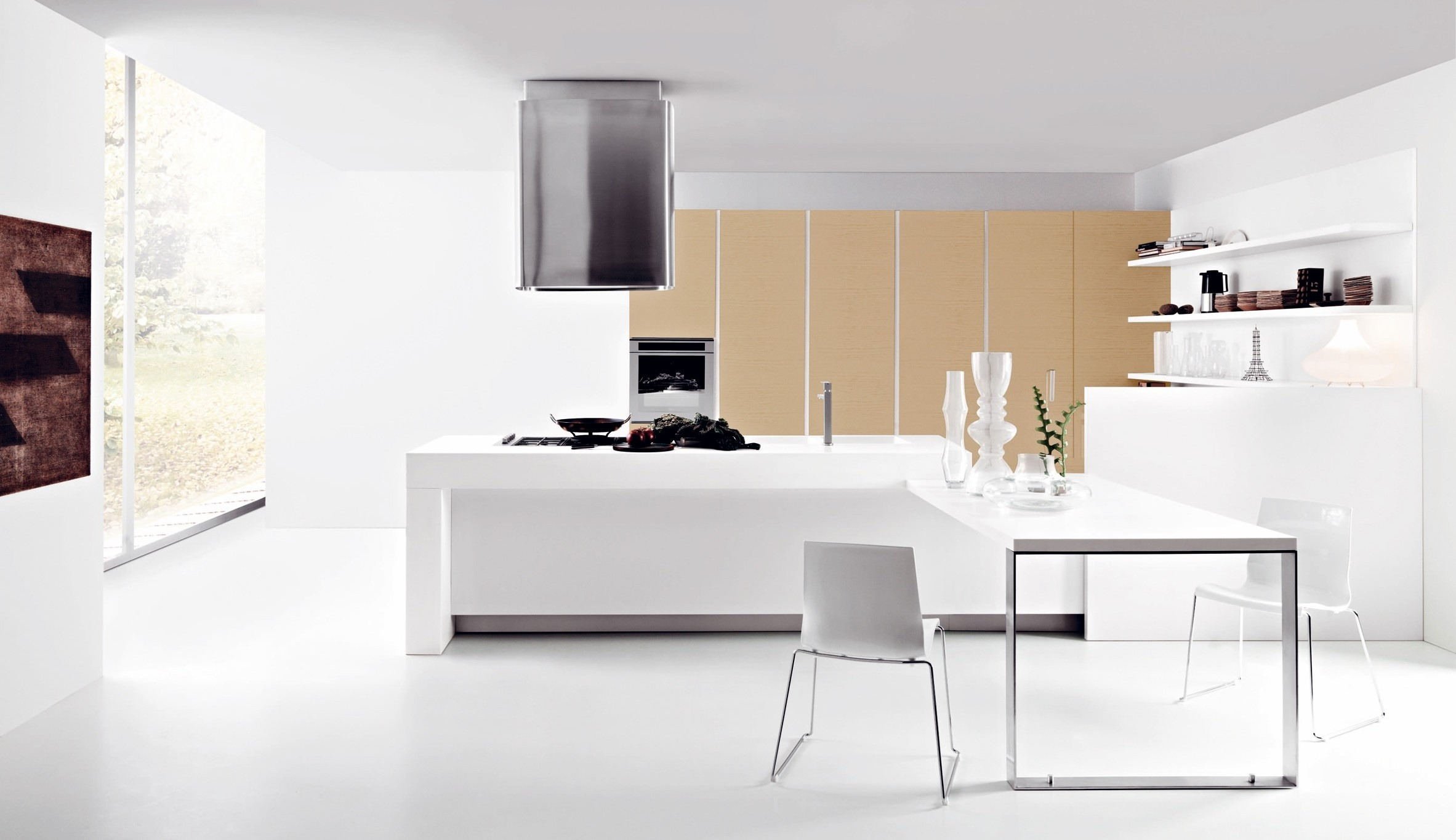 Modern snow white kitchen interior for Modern kitchen interior