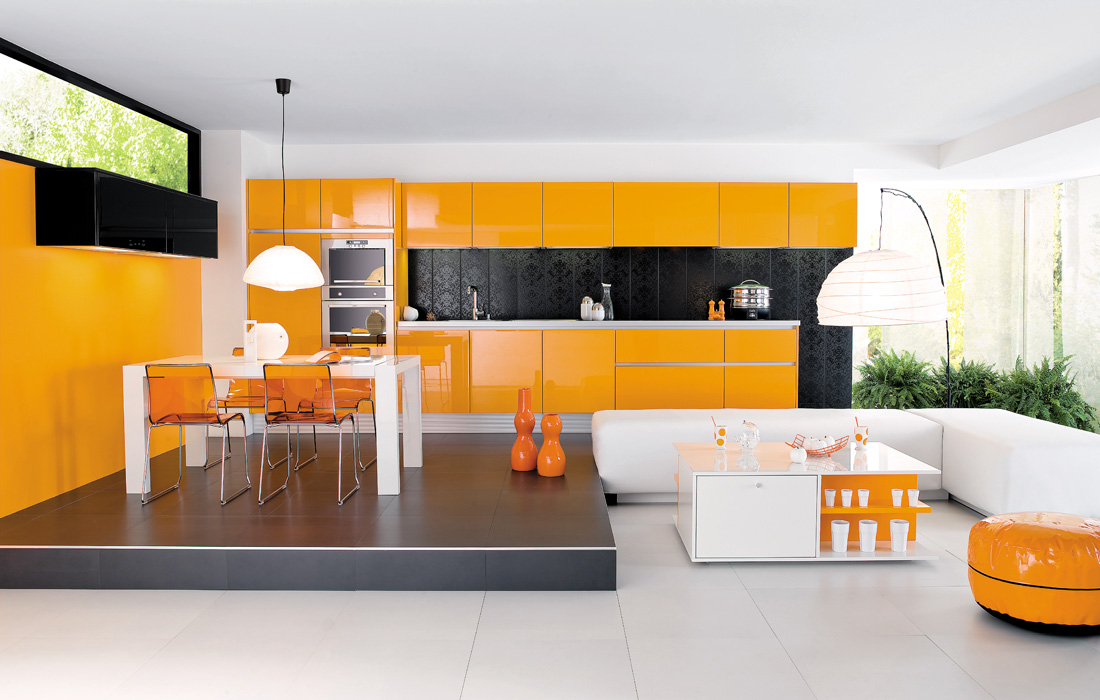 orange kitchen design - stylehomes